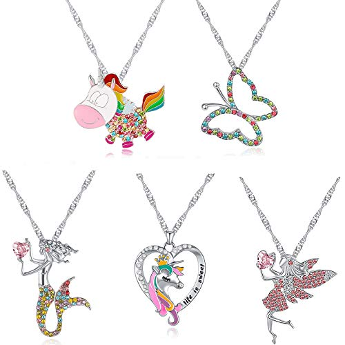 6 Pcs cute necklaces for Girls kids Birthday Gift Pack-Cat Pendant Necklace for Little Girls-Fairy Necklace for Teens Girls-Mermaid Necklace for girls-Ballerina Recital Gifts for Teen Girls Trend (#4)