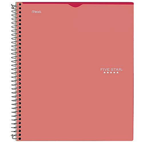 """Five Star Interactive Notetaking, 1 Subject, College Ruled Spiral Notebook, 100 Sheets, 11"""" x 8-1/2"""", Customizable, Red (06374AB2)"""