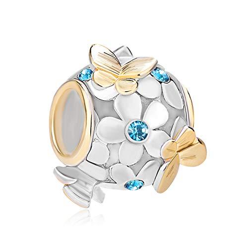 PoeticCharms 925 Sterling Silber Magnolie Rosé Emaille Blume&Golden Schmetterling Charms Kristall ür europäische Armband Schmuck/Blau