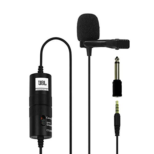 JBL Commercial CSLM20B Omnidirectional Lavalier Microphone with Battery for Content Creation, Voice over/Dubbing, Recording, black, small