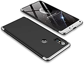 Case Xiaomi Mi Mix 2s 360 Degrees protective Cover + tempered glass film High quality, 3 in1 Full Body protection Bumper hard phone Case Ultra-thin Skin Case,for Xiaomi Mi Mix 2s (Black Silver)