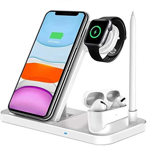 Drahtlose Ladestation für Apple Watch/Airpods/iPhone/Apple Pencil,Schnelles Kabelloses Ladegerät für iPhone 11/11 Pro Max/XS/XR/X/8,Samsung Galaxy S10/S9 und alle Qi-fähigen Telefone (Kein Adapter)