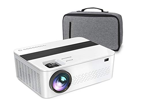 """1080P Projector,JIFAR 7000Lux HD Projector with 400"""" 4k dispaly,Support Zoom and 100000 hours lamp,Official Busines & Home & Outdoor Projector Compatible with TV Stick,HDMI,VGA,USB, Smartphone,PC,Xbox"""