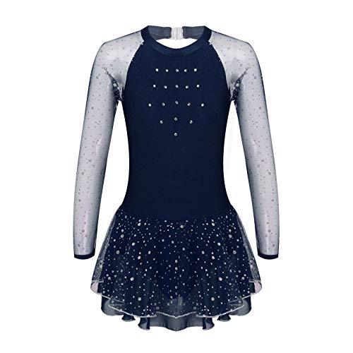 iEFiEL Body da Pattinaggio Artistico per Ragazza Bambina Vestito da Balletto Leotard in Pizzo/Chiffon Body da Ginnastica Concorso di Pattinaggio Dancewear Tutu 4-14Anni Navy Blue B 13-14 Anni