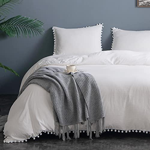 Lekesky Juego de ropa de cama de 135 x 200 cm con pompones, estilo boho, 2 piezas, 1 funda nórdica y 1 funda de almohada, microfibra lavada supersuave, color blanco