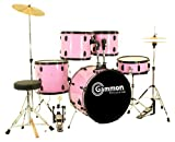 Gammon Percussion Pink Drum Set Full Size 5-Piece Kit with Cymbals Stands Hardware Sticks and Stool