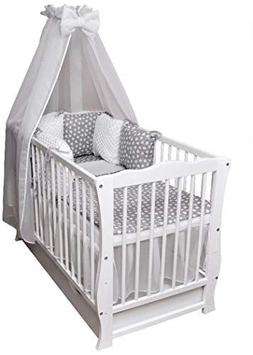 Babybett Kinderbett Juniorbett Bettset Decke Kissen Minky Matratze Schublade 120x60cm weiß Neu