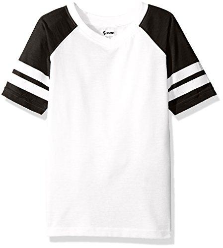 Soffe Girls' Big Retro Football Tee Jersey, White/Black, X-Large
