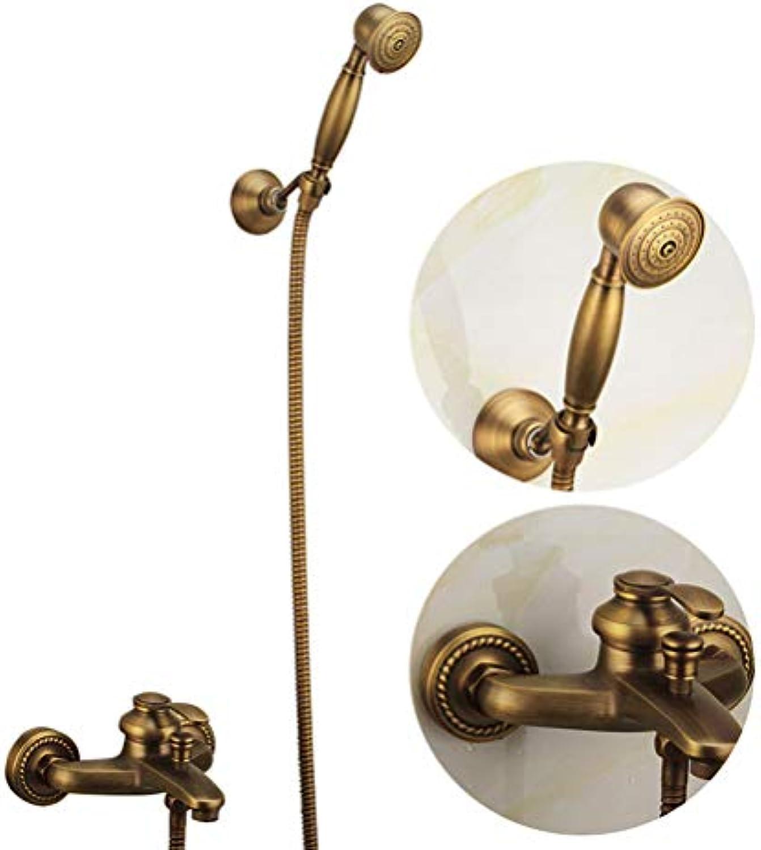 WYH Antike Messing Dusche Wasserhahn Qualitt Kupfer Dusche Badezimmer Sanitrkeramik Dusche Set Wand Badewanne Mischbatterien