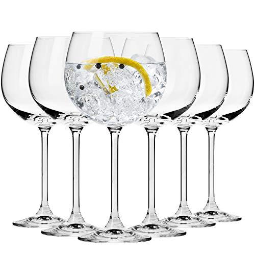Krosno Calice da Gin Bicchiere Ballon Acqua   Set di 6 Calici   480 ml   Collezione Venezia   Ideale per la Casa, Ristorante Feste e Ricevimenti   Adatto alla Lavastoviglie e al Forno a Microonde