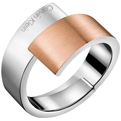 Calvin Klein Damen-Damenring Edelstahl 57 Silber/rosé 32005025