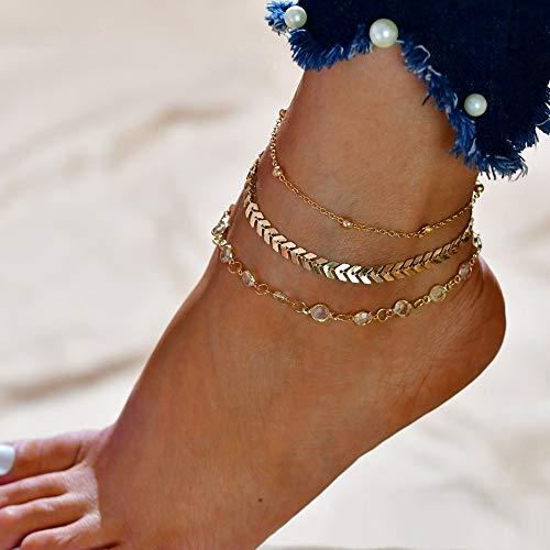 ZBXCVZH Modyle Anklets for Women Foot Accesorio Summer Beach Barefoot Sandalias Breakle en la pierna hembra Regalos de tobillo para mujer (Metal Color: 50160)