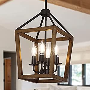 Linsly Rustic Chandelier,4-Light Farmhouse Chandelier,Imitation Oak Wood Rustic Chandelier Pendant Light Fixture,Adjustable Vintage Iron Lantern Chandelier for Dining Room,Entryway,Kitchen Island