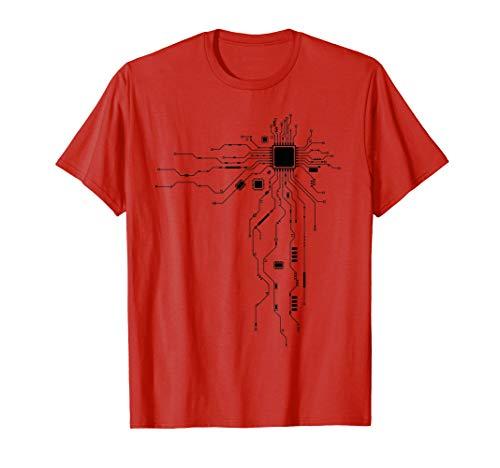 Black Computer CPU Core Heart Geek T-Shirt - Men Women Kids