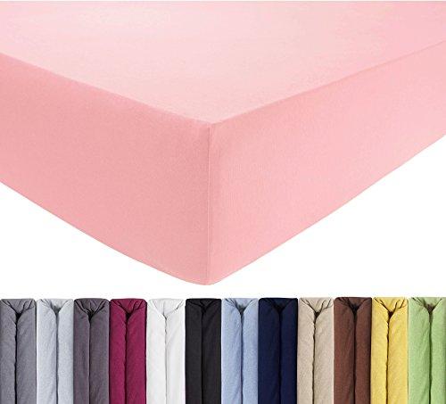 ENTSPANNO Jersey Spannbettlaken 140 x 200 | 160 x 220 cm für Wasser- und Boxspringbett in Rosa aus gekämmter Baumwolle. Spannbetttuch mit Einlaufschutz, bis 40 cm hohe Matratzen