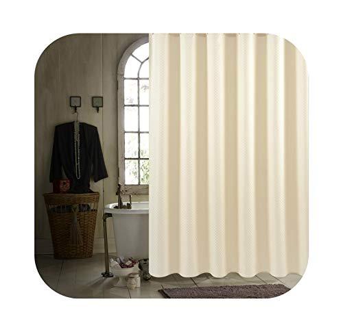 Luxuriöser moderner Polyester-Duschvorhang, beige, kariert, schimmelresistent, wasserdicht, waschbar, gelb, Textil, hellgelb, 150X180CM