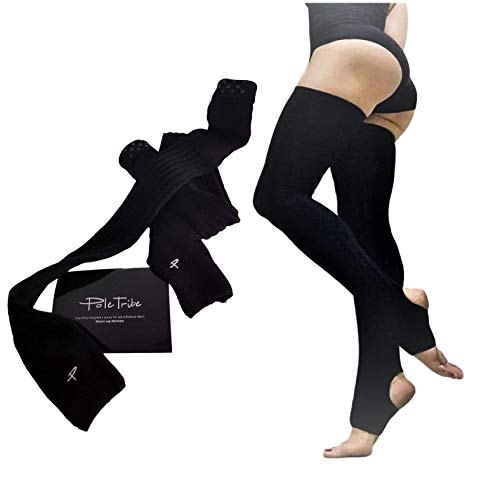 High Thigh Leg Warmers for Women. Warm Up High Socks- Yoga, Pole Dance. Non-Slip Black (Large)