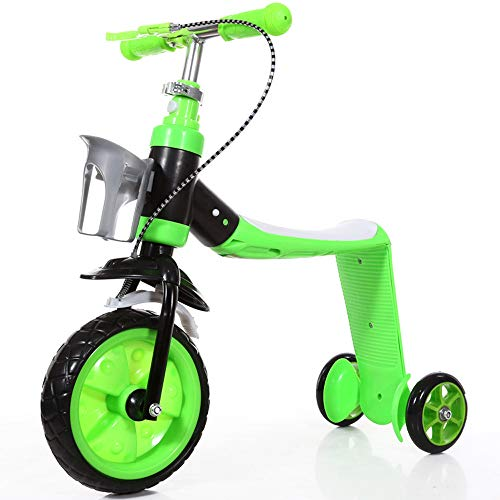 Kinderstep, converteerbare 4-in-1 loopfiets, trike en trainingsfiets voor 2-5-jarigen,Green