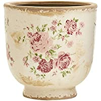 Nearly Natural 7.5 Inch Tuscan Ceramic Floral Print Planter