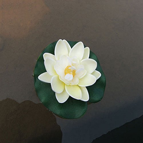 Gemini_mall® Schwimmende Teichdekoration, Seerose/Lotusblume, 10 cm, Milchweiß