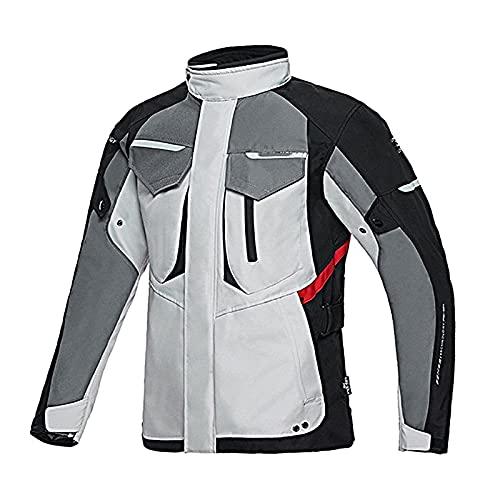ETScooter Chaqueta Moto Hombre con CE Protecciones, Textil Impermeable Armadura Chaqueta de Motocicleta Traje de Ciclismo con Forro Térmico e Reflectante (Color : Gray, Size : S)