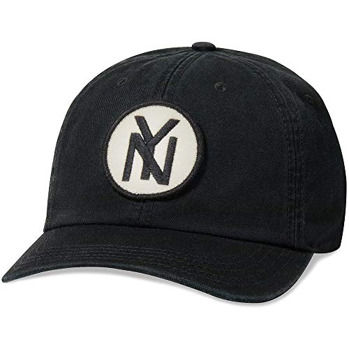 AMERICAN NEEDLE New York Black Yankees Baseball Hat, Vintage Negro League, Casual Relaxed Fit with Curved Brim, Adjustable Buckle Strap Dad Cap, Hepcat Collection, Black (43877A-NBY-BLK)
