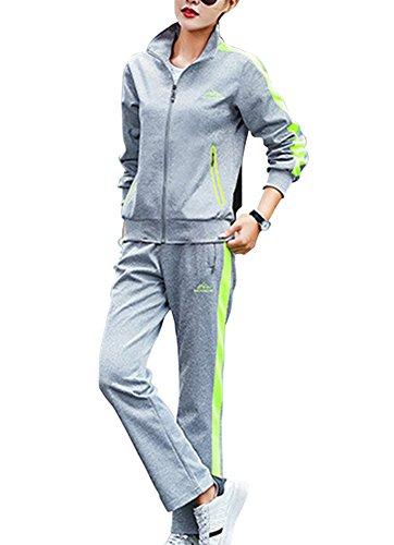 Homme/Femme Loisir 2 Pièces Survêtement Manches Longues Sweat-Shirt + Jogging Pantalon De Sport Survêtement Fgris Vert S