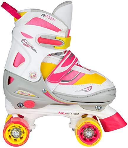 Nijdam Junior Mädchen Semi-Softboot Rollerskates Verstellbar, Fluorrosa/Fluorgelb/Weiß/Grau/Anthrazit, 34-37