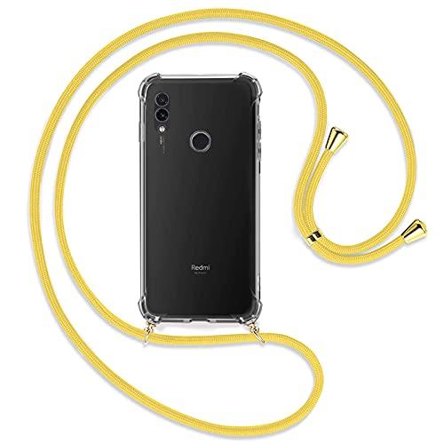 TBOC Funda para Xiaomi Redmi Note 7 [6.3 Pulgadas] - Carcasa Transparente con Cuerda [Amarilla] para Móvil Cordón Ajustable Práctico Collar de Moda Cadena para Cuello Resistente Arañazos