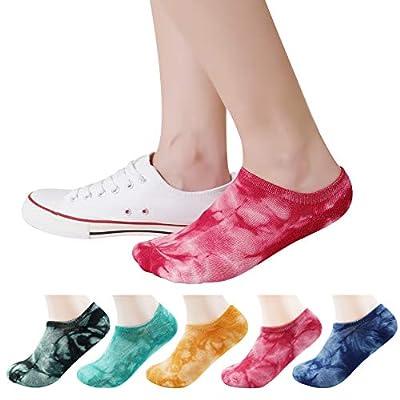 Bienvenu 5 Pack Colorful Pattern Low Cut Casual Liner Socks Tie Dye No Show Socks Hidden Invisible,Multi Color_No Show