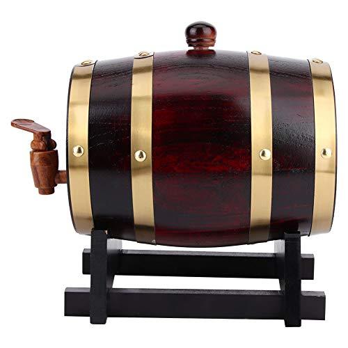 Camidy Barril de vino de madera de roble con grifo cubo de barril, 1,5 l, dispensador de cerveza de vino vintage, caja de berrel con base de soporte, accesorios de preparación para el hogar