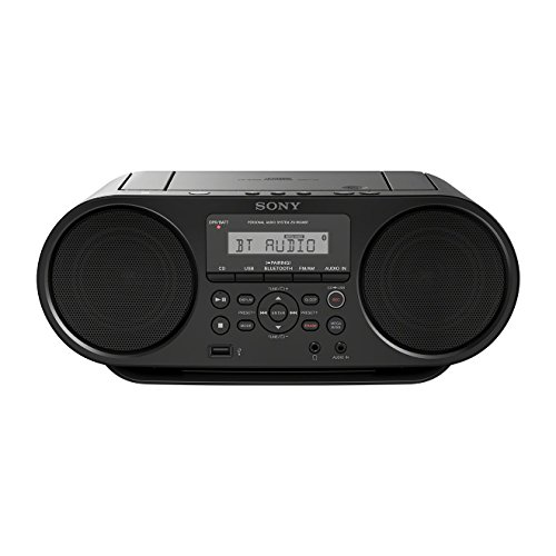 Sony ZS-RS60BT - Radio Boombox CD de 4W (estéreo, USB, Bluetooth, NFC ), negro
