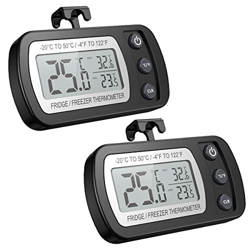 AMIR デジタル温度計 冷蔵庫用 IPX3防水 室内/室外用可 高精度 温度測定範囲-20℃~50℃ 最高最低温度値記録 置き掛け両用 フック付き ペット飼育 見やすい 小型 (ブラック 2pcs)