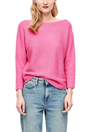 s.Oliver Damen Fledermaus-Pullover aus Rippstrick pink 44