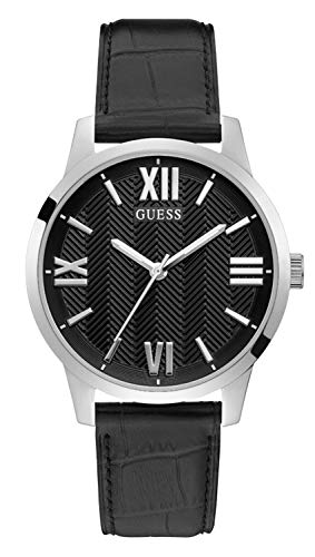 GUESS Men's Stainless Steel Quartz Watch with Leather Strap, Black, 20 (Model: GW0250G1)