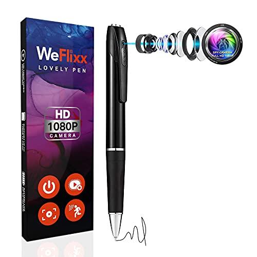 WeFlixx Spy Pen Cameras with Audio and Video Recording Pen - Mini Spy Camera Pen Camera - Spy Cam Hidden Camera Pen - Mini Body Camera Pen Recorder - Spy Cameras Nanny Cam 1080p Pocket Camera Spy Gear
