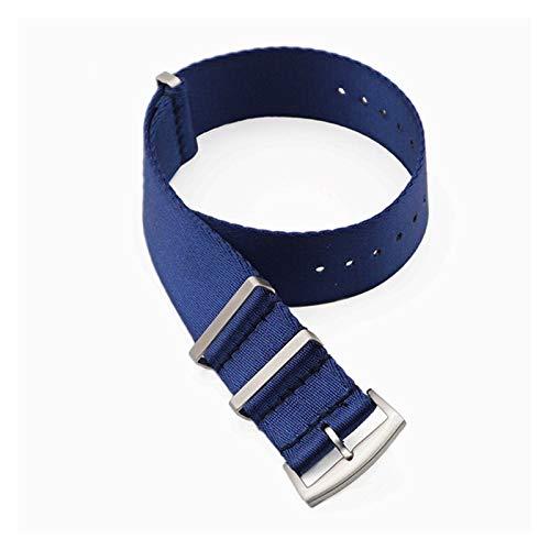 Simplicidad con Estilo Premium Quality Herringbone 20mm 22mm Cinturón de Seguridad Banda de Reloj Nylon Nylon Strap for 007 James Bond Military Striped Reemplazo Reloj Accesorios de Reloj