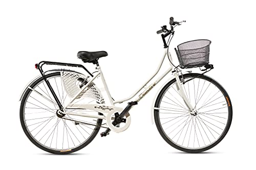 Bicicletta Donna da Passeggio Olanda Misura 26 Bici da città Vintage retrò con Cestino Bianca