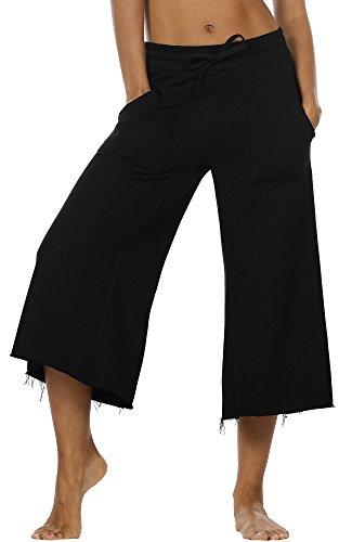 icyzone Damen Lose Weites Bein Hose Elastische Taille Hosenrock Capri Pants Freizeithose (S, Schwarz)
