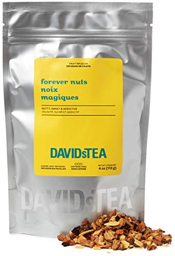 DAVIDsTEA Forever Nuts Loose Leaf Tea, Premium Herbal Tea with Almonds, Apples and Beetroot, 4 oz / 113 g