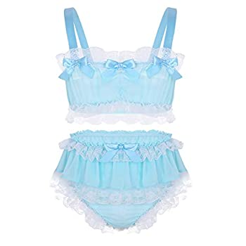 Agoky Men s 2 Pieces Sissy Crossdress Girly Ruffled Frilly Lace Crop Top Skirted Panties Lingerie Sets Nightwear Blue Medium
