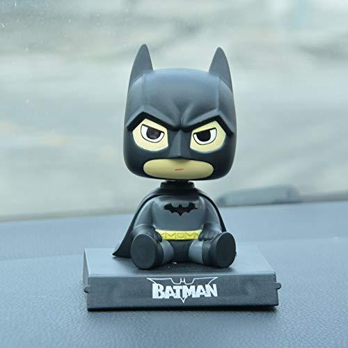 XIAOMEI Decoración Creativa del Modelo del Automóvil, Muñeca con Cabeza Sacudida Hecha A Mano, Automóvil De Dibujos Animados, Accesorios Dominantes del Automóvil, Masculino 10cm Batman + Batmóvil