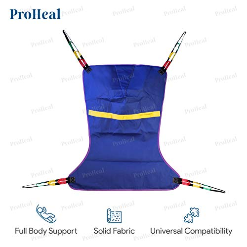 ProHeal Universal Full Body Lift Sling, X Large, 56'L x 43' - Solid Fabric Polyester Slings for Patient Lifts - Compatible with Hoyer, Invacare, McKesson, Drive, Lumex, Medline, Joerns and More