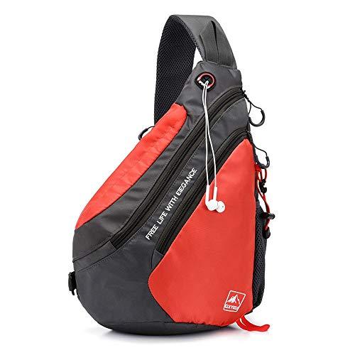 MGWA Commuter Male Bolsa De Empalme Pecho Masculino Solo Bolso De Hombro-Cross-Cuerpo De La Bolsa Casual Bolsa Impermeable Portable 28 * 13*H42CM Mochila (Color : Red)