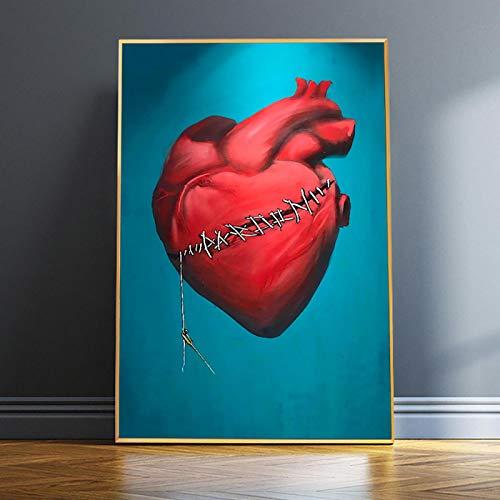 YHHZW Carteles e Impresiones Abstractos de corazón Rojo herido Roto Cuadro de Pared de Dibujos Animados sobre Lienzo Pintura artística para Sala de Estar Decoración para el hogar-40x60cm Sin Marco