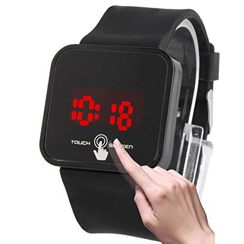 Pulsera Inteligente BZN Unisex con Estilo de Pantalla táctil capacitiva LED electrónico del Reloj del Reloj del Reloj con Banda de Silicona (Negro) (Color : Black)