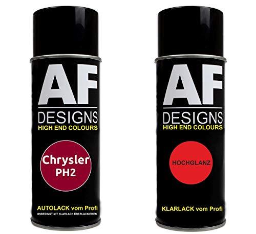 Autolack Spraydose Set für Chrysler PH2 Candy Apple Red Metallic Basislack Klarlack Sprühdose 400ml