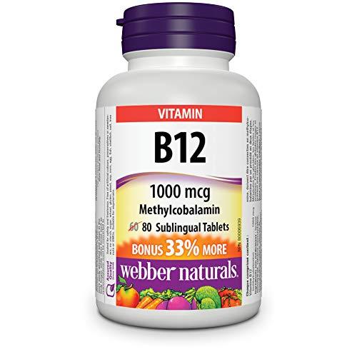 Webber Naturals Vitamin B12 Methylcobalamin Sublingual Tablet, 1000mcg