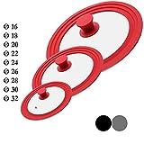 M.S.N Set di 3 coperchi universali in vetro, 3 pezzi, pentole e padelle da 16/18/20 cm e 24/26/28 cm e 28/30/32 cm, con valvola di scarico e bordo in silicone (rosso)