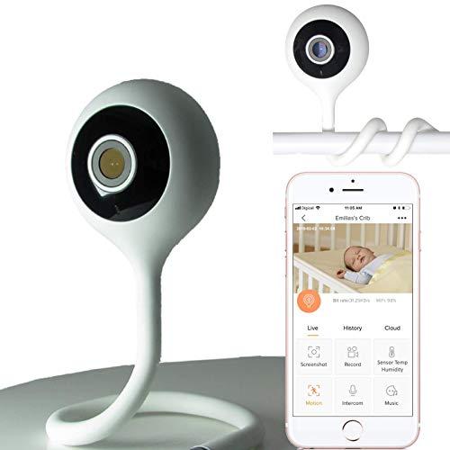 Baby CAMdy - Vigilabebe con camara vigilancia WiFi interior para bebes, HD 1080p. Fijación en cuna bebe. Aplicación inteligente iOS/Android
